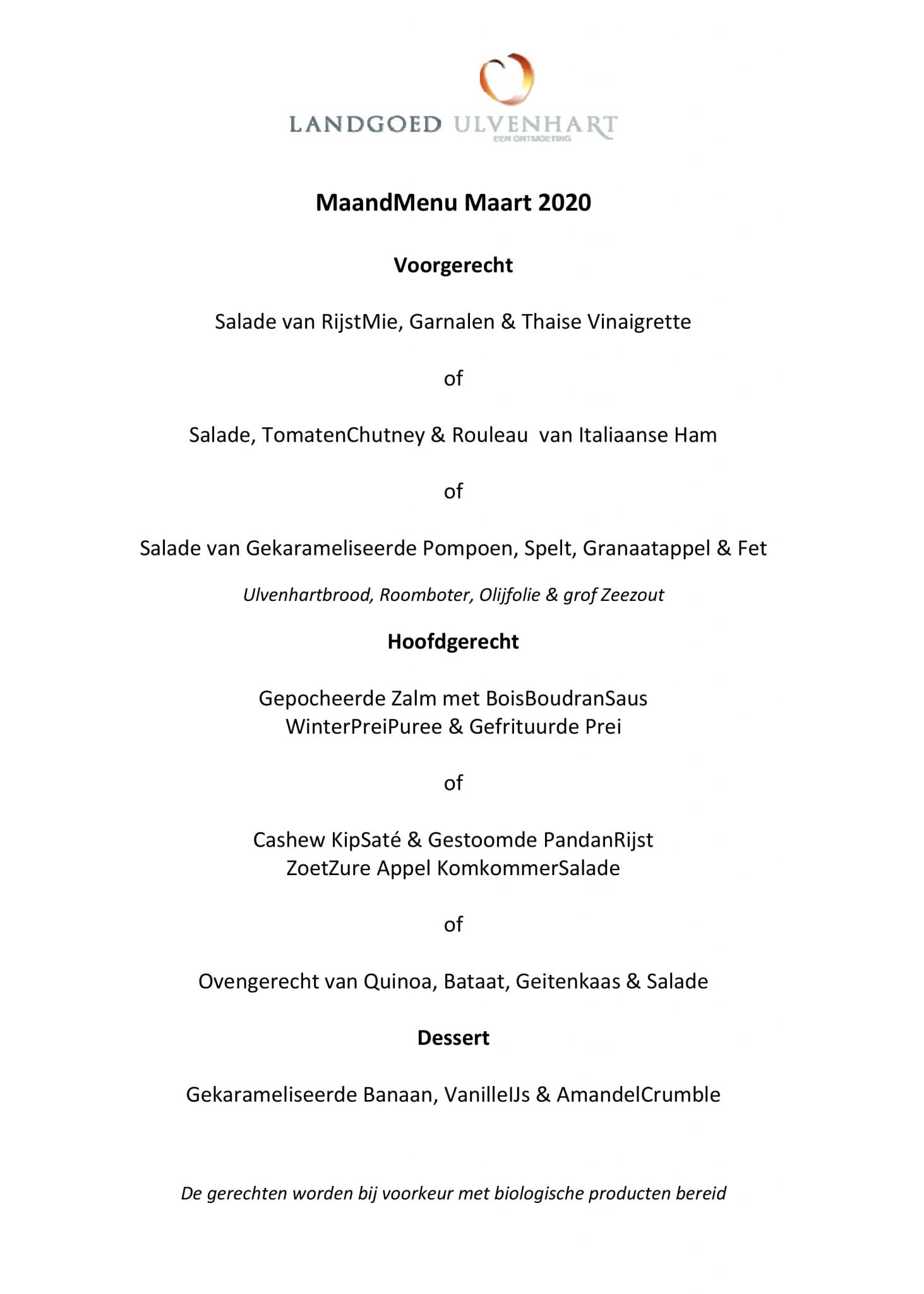 maand menu ulvenhart maart
